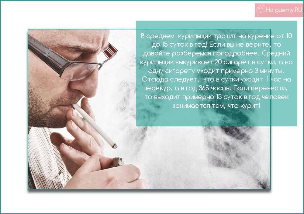 Сколько времени человек тратит на курение