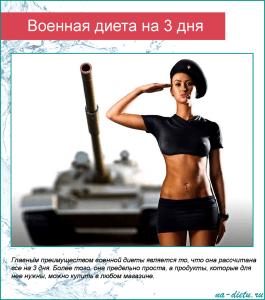 Военная диета, рассчитанная на 3 дня