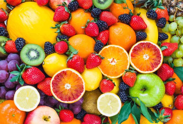 множество фруктов